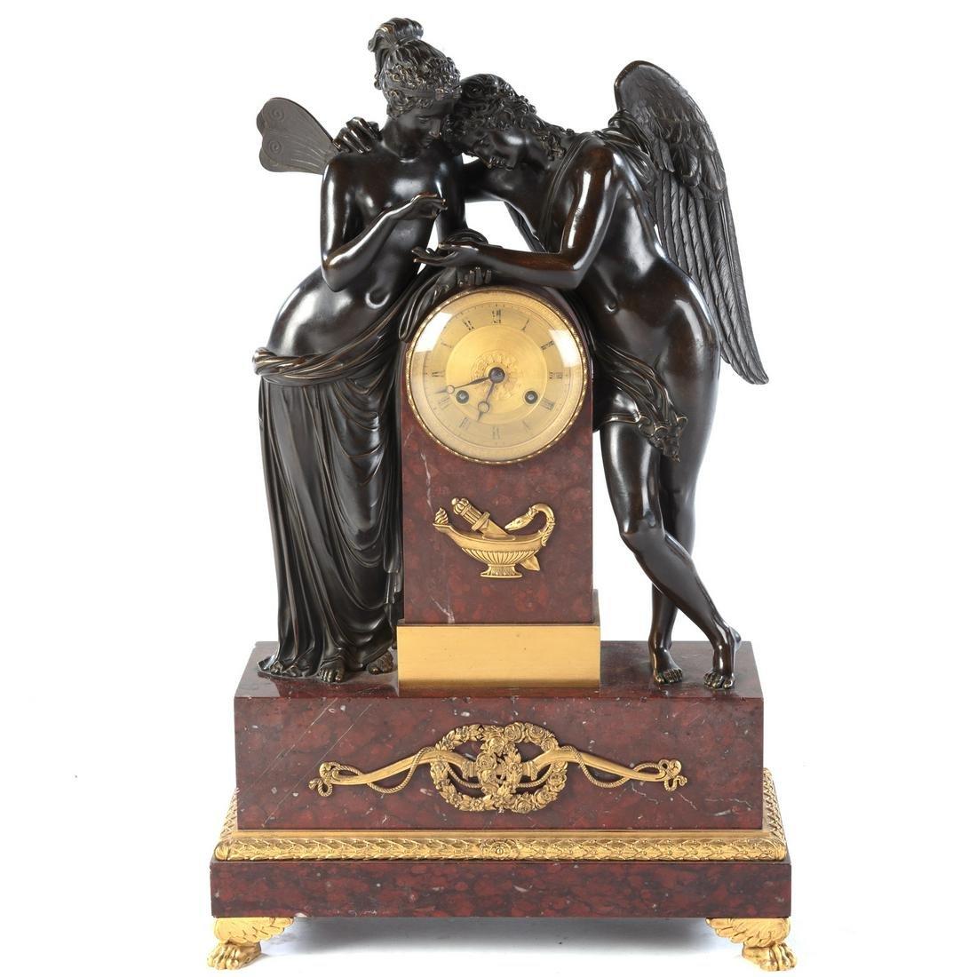 French Empire Bronze Figural Mantel Clock