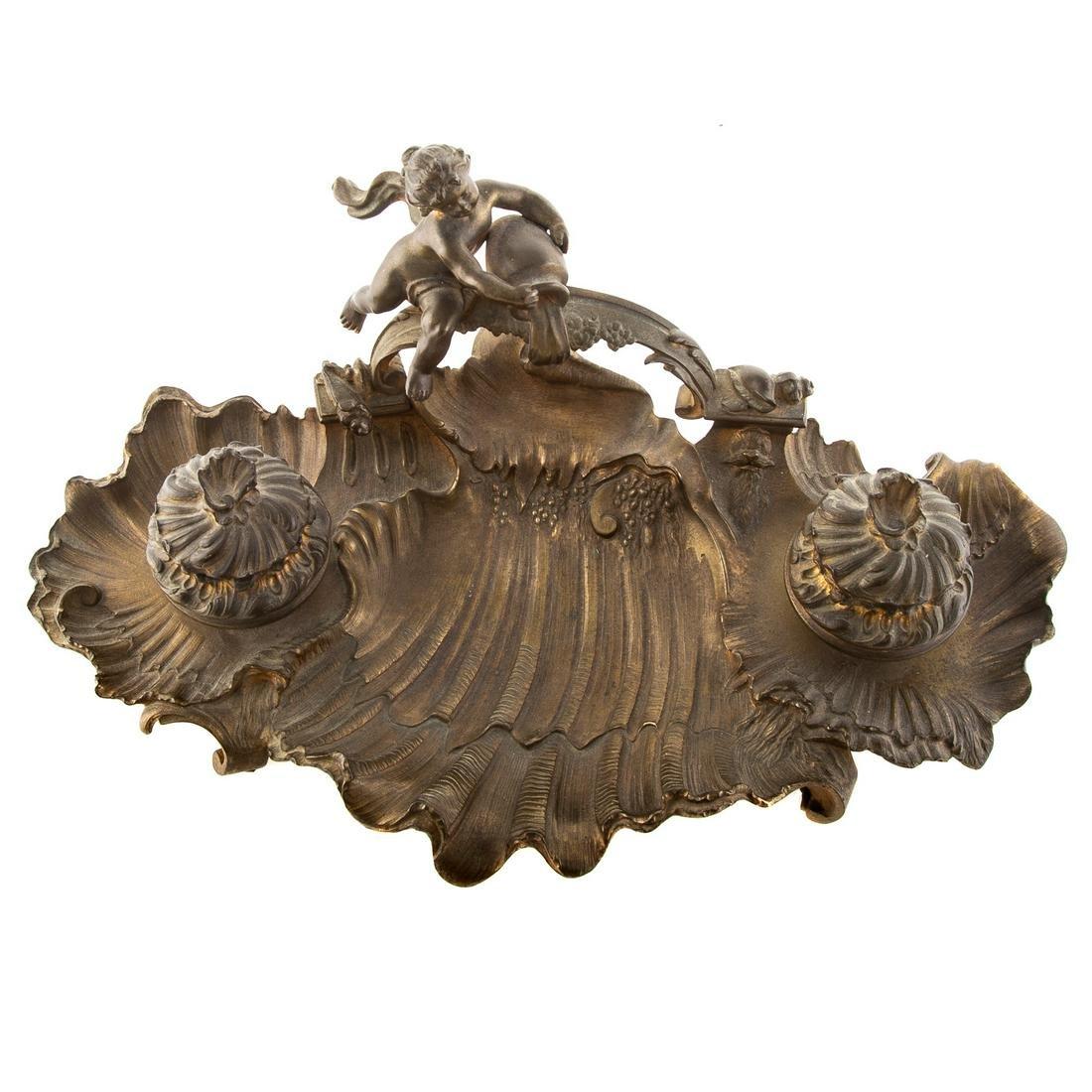 Napoleon III Bronze Figural Desk Standish