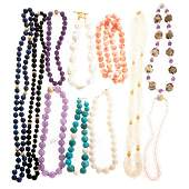 A Collection of Gemstone and Pearl Necklaces