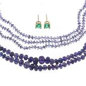 Two Tanzanite Necklaces & Emerald Studs in 14K