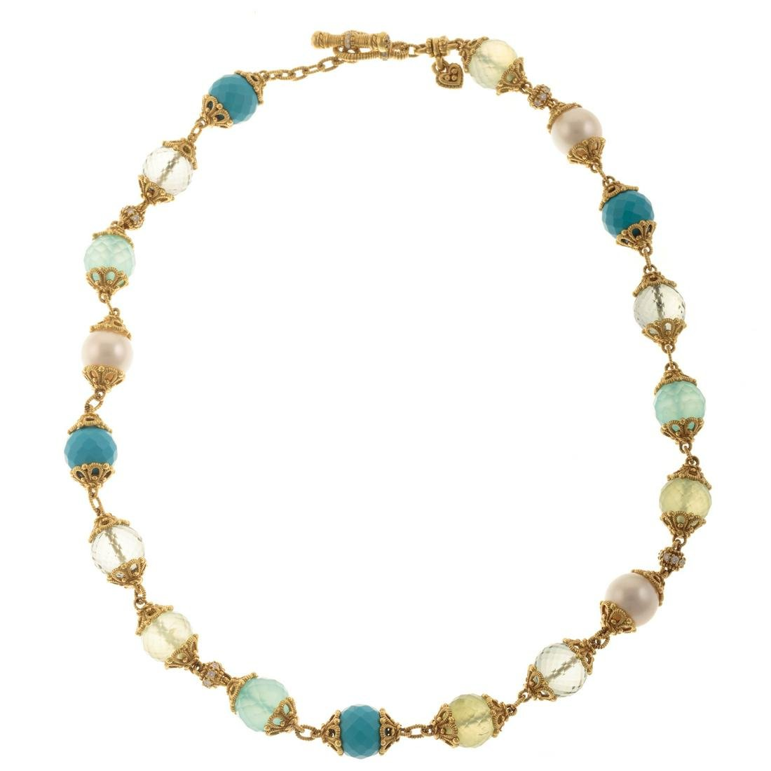 A Ladies Gem Set Necklace by J. Ripka in 18K