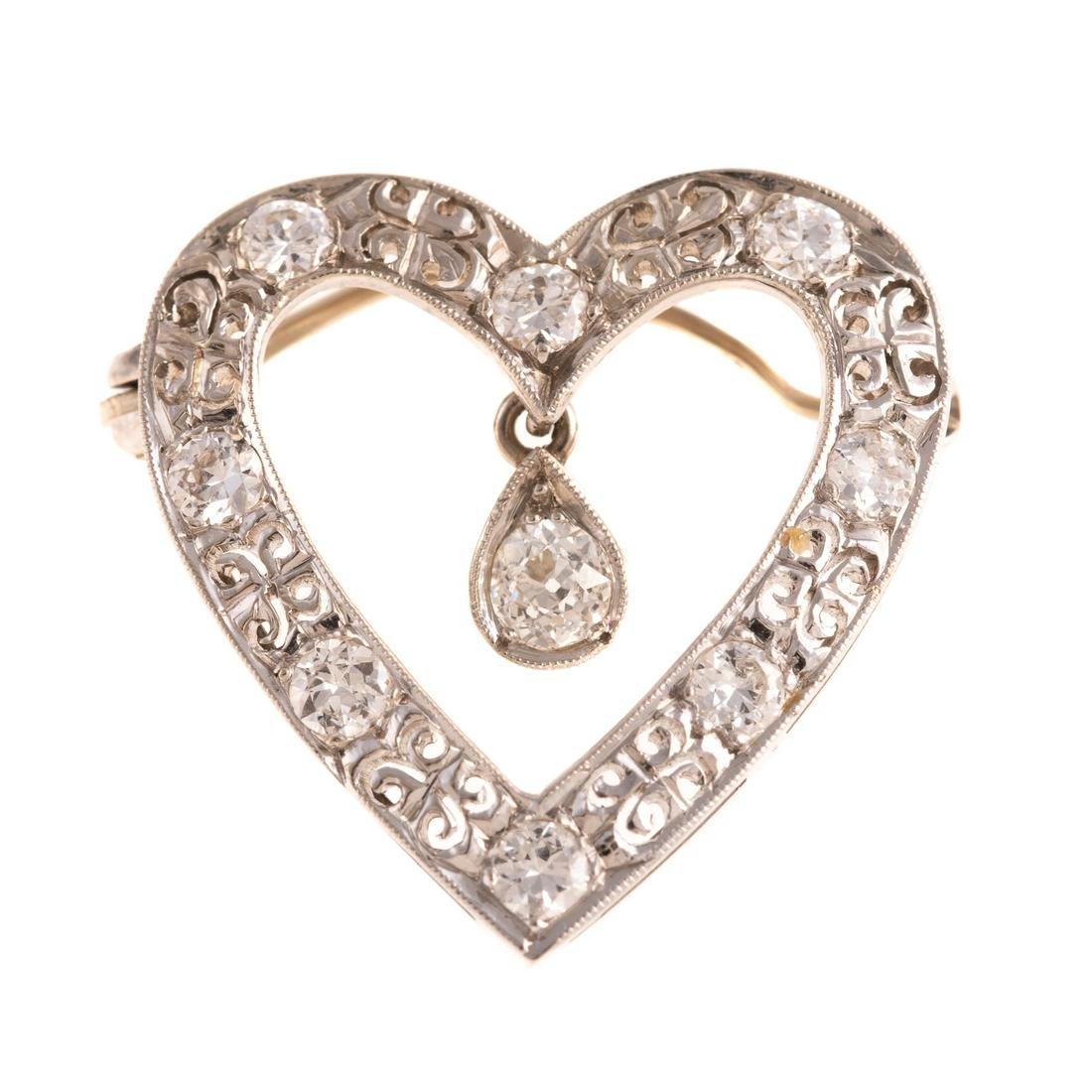 A Vintage Open Heart Diamond Pin/Pendant in 14K
