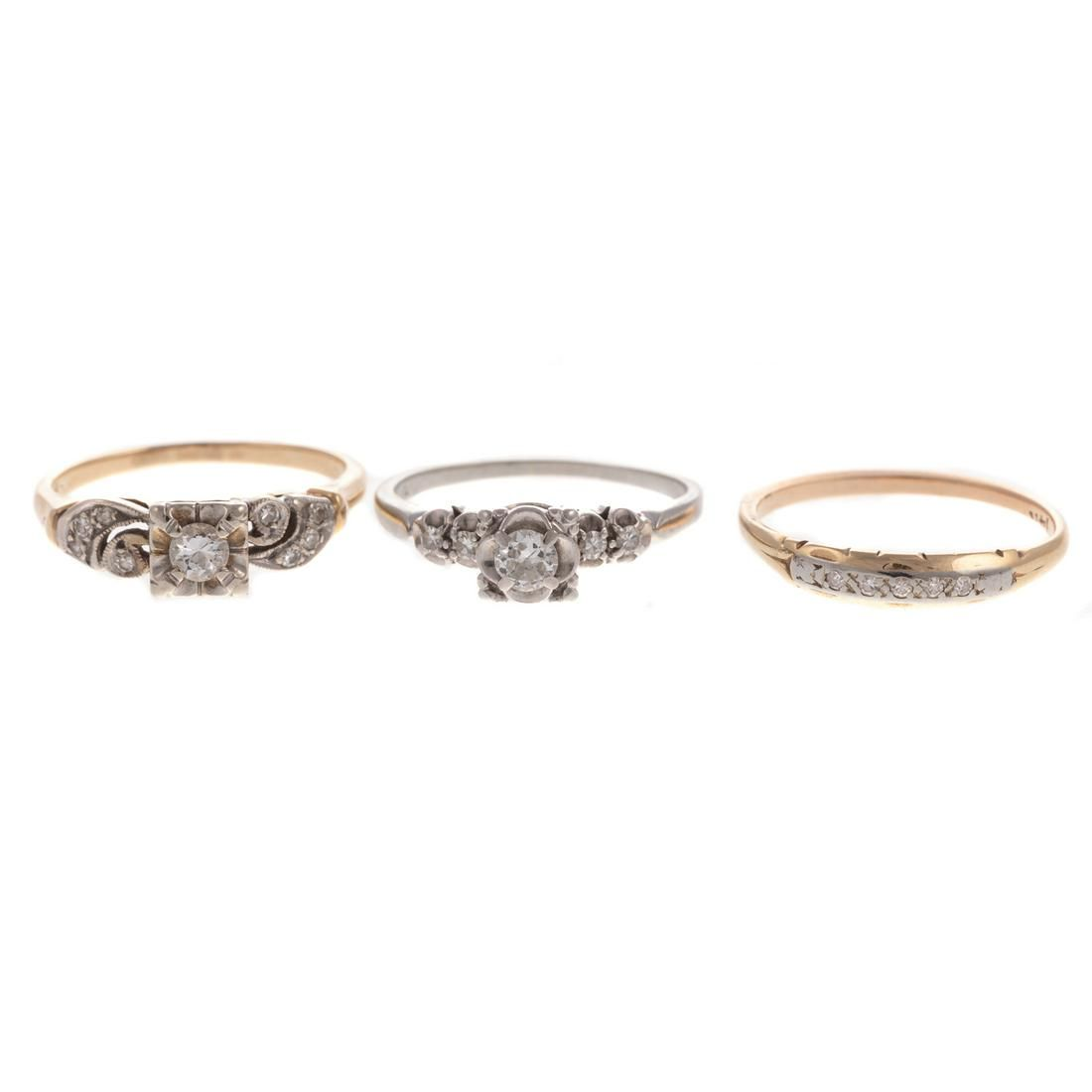 A Trio of Vintage Diamond Rings in Gold