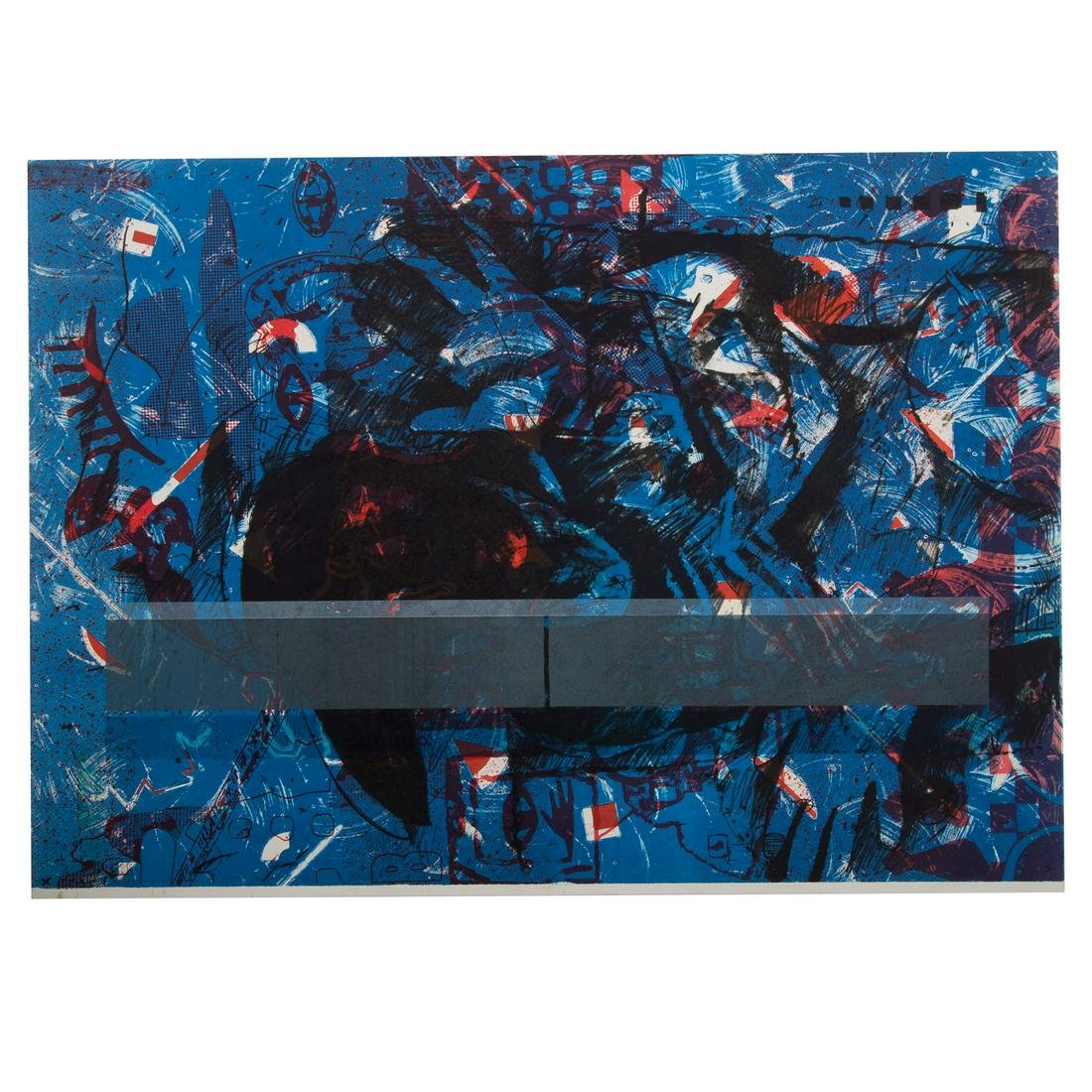 EJ Montgomery. Untitled Abstract in Blue and Red