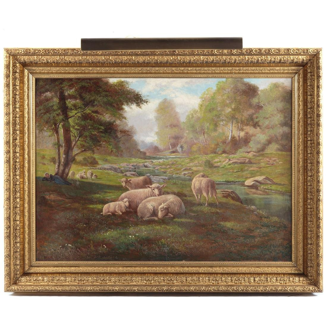 L.M. Newberry. Pastoral Landscape With Sheep
