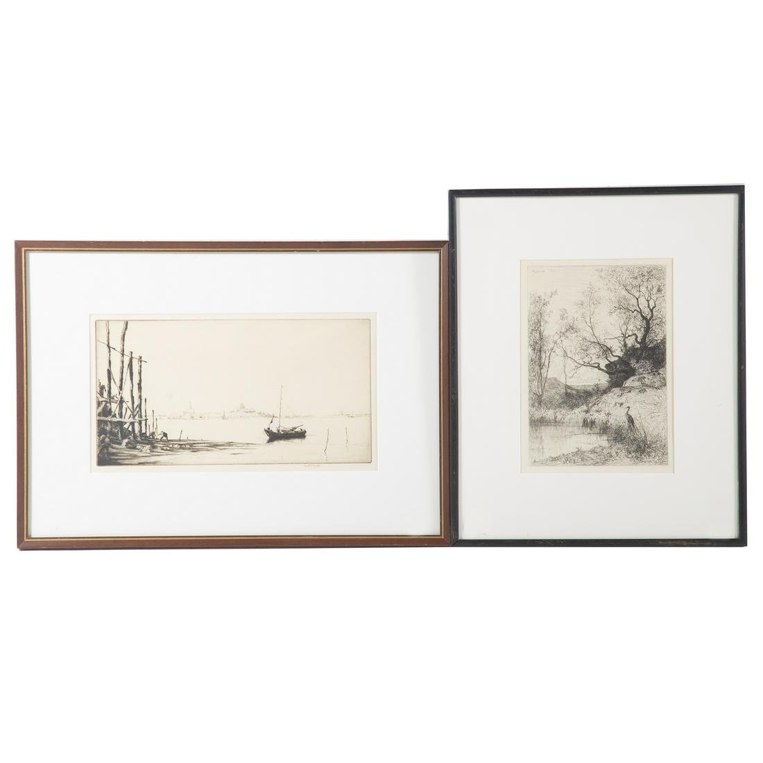 Continental School. Two Framed Etchings