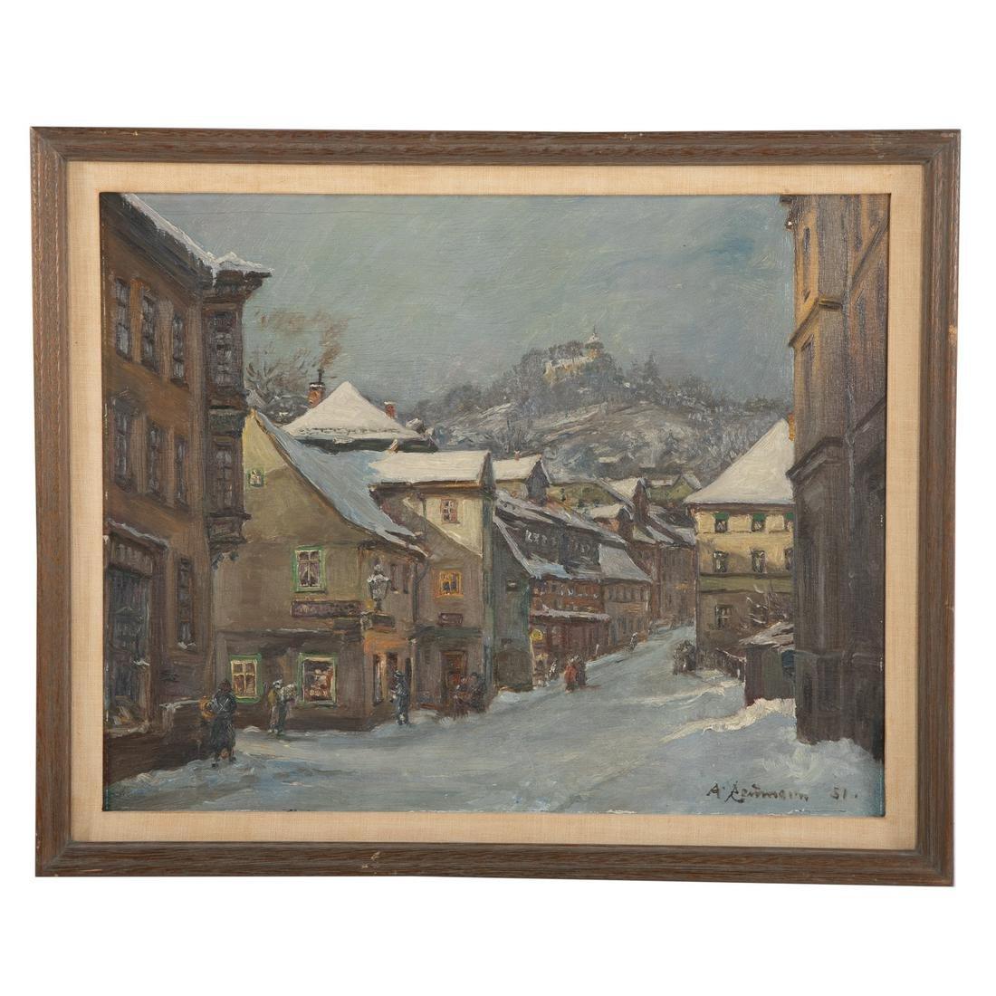 Armin Reumann. Village Street In Winter
