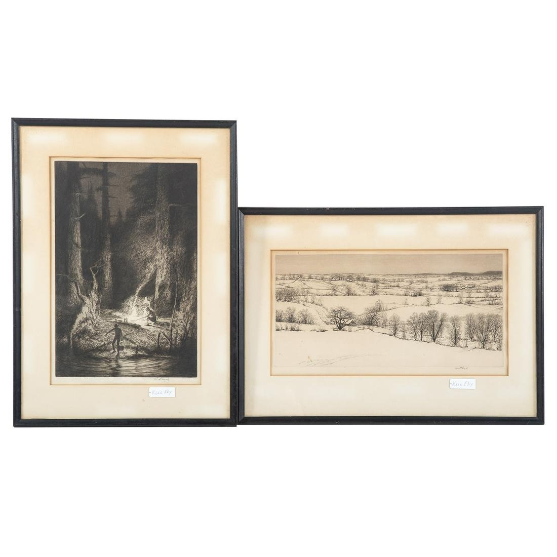 Kerr Eby. Two Framed Etchings