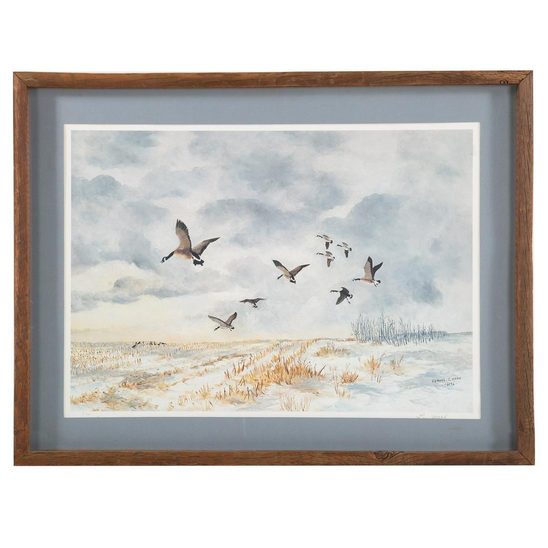 Lemuel T. Ward. Geese Flying Over Marsh