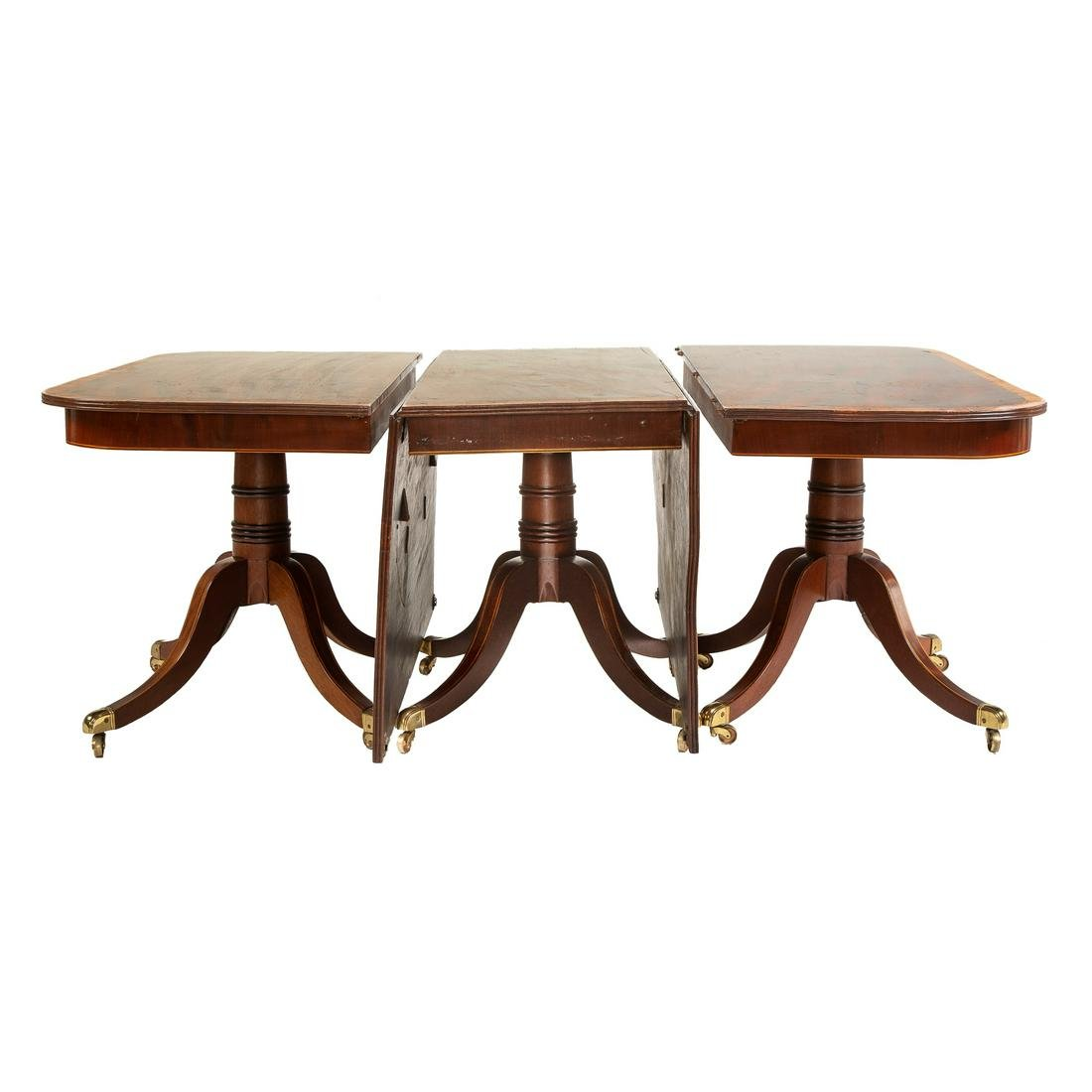 Regency Mahogany Three Pedestal Banquet Table