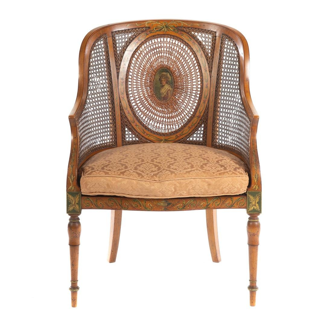 George III Adam Style Satinwood Arm Chair