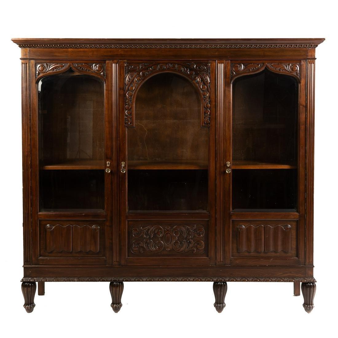 Victorian Elizabethan Revival Walnut Bookcase