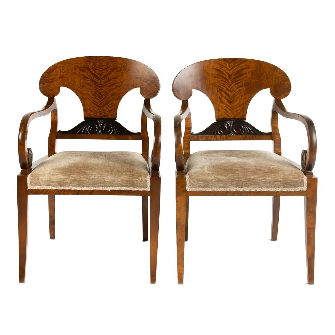 Pair of Biedermeier Style Tiger Maple Arm Chairs
