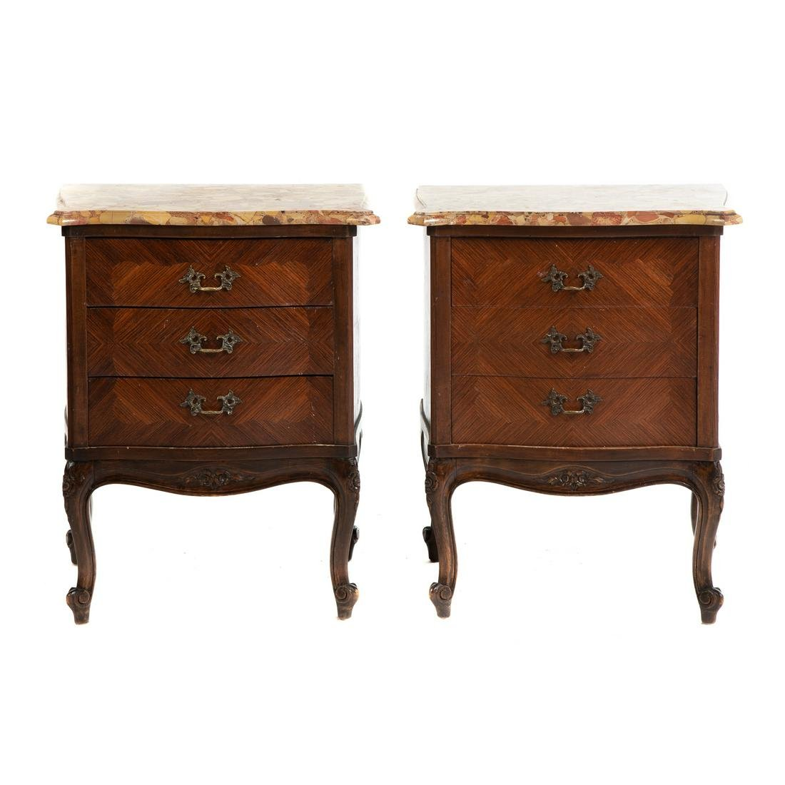 Pair Of Louis XV Style Parquetry Bedside Stands