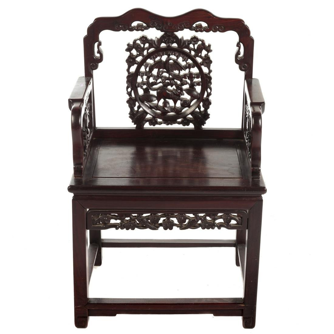 Chinese Carved Rosewood Arm Chair