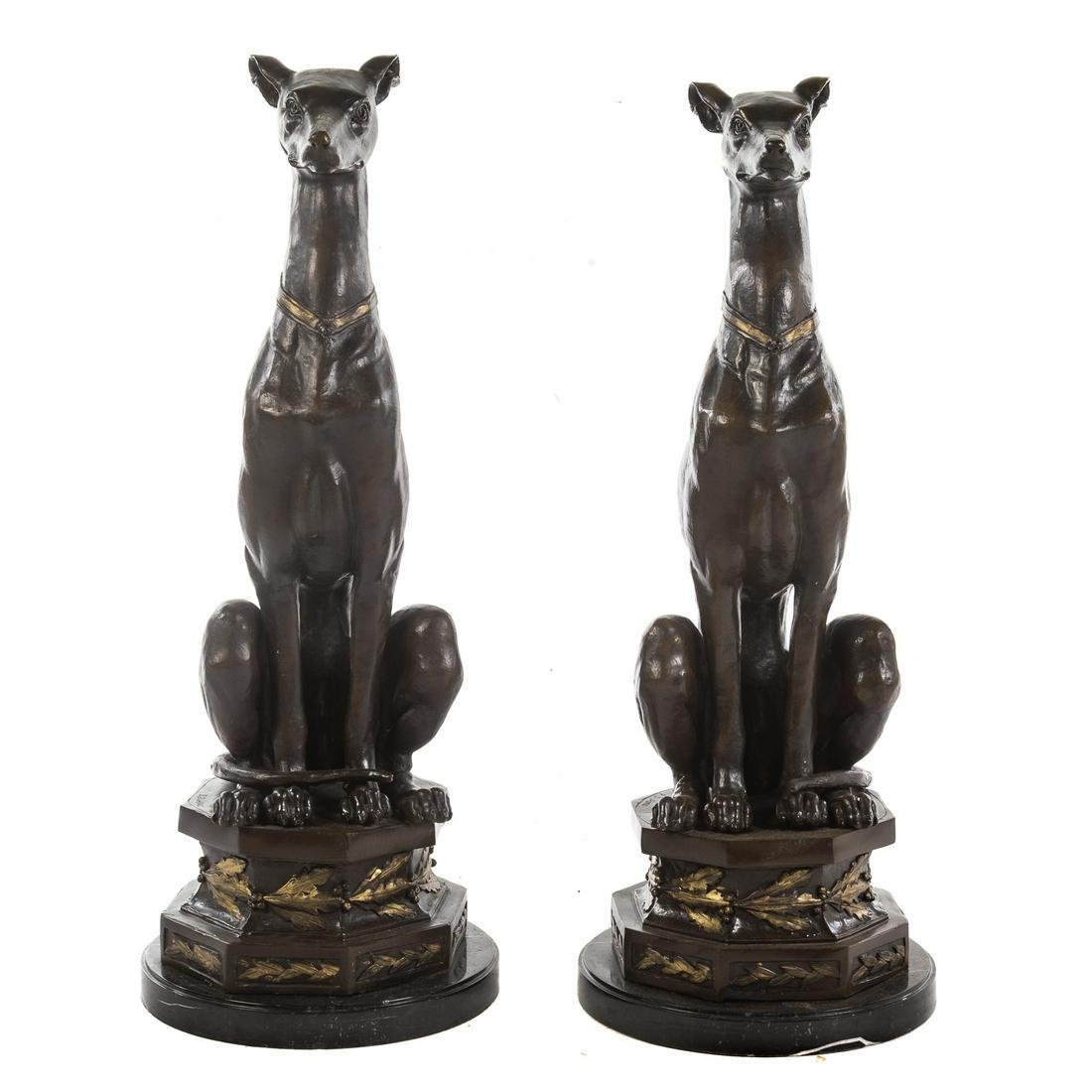Pair Of Patinated Bronze Seated Whippets