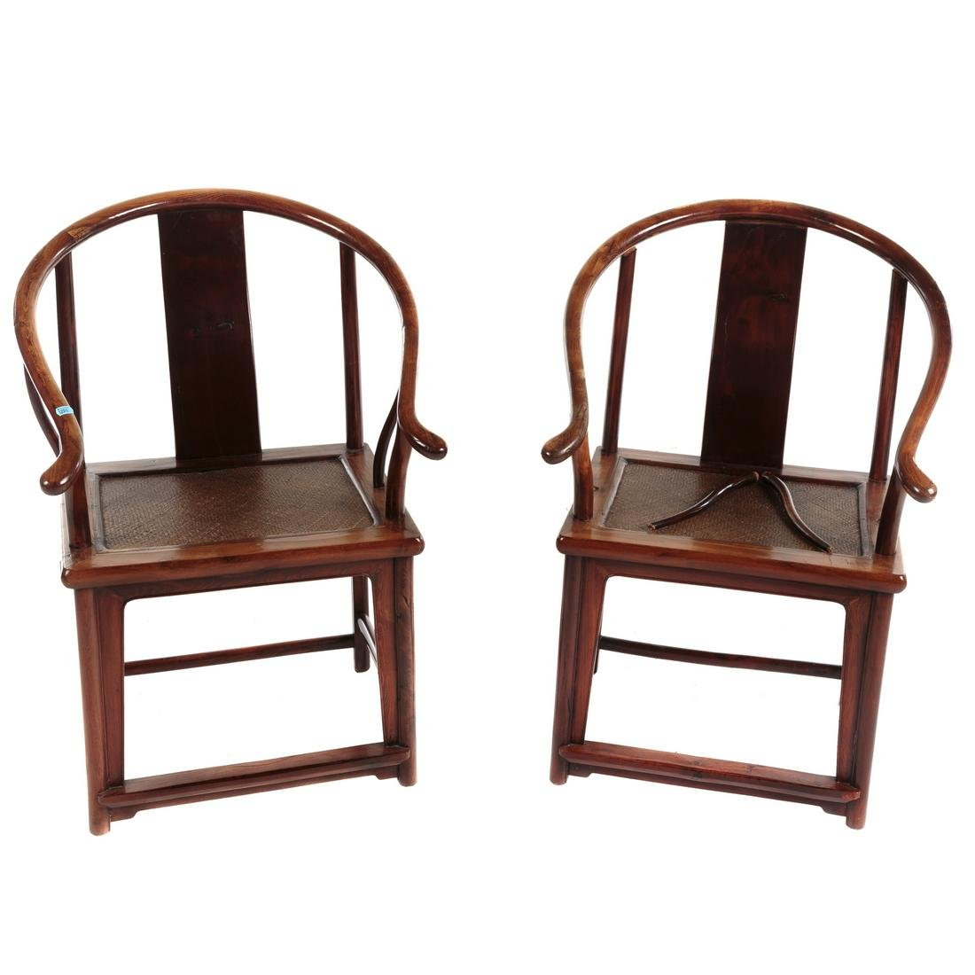 Pair Of Chinese Yew Wood Yoke Back Arm Chairs