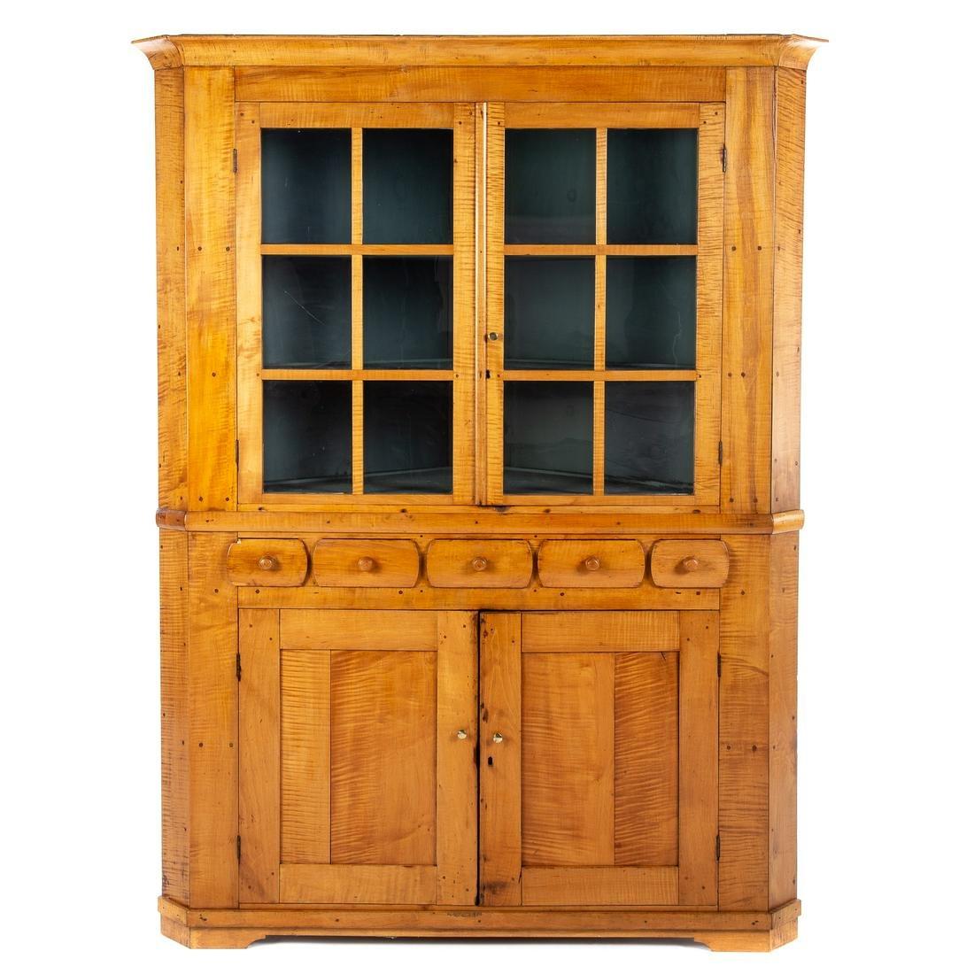 American Restoration Tiger Maple Corner Cupboard