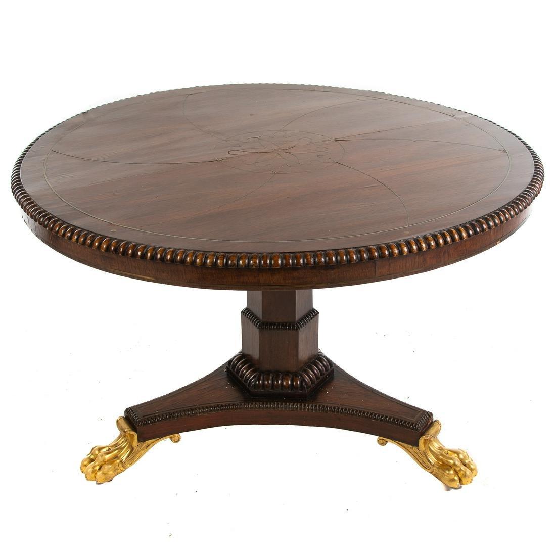 Regency Brass Inlay Rosewood Center Table