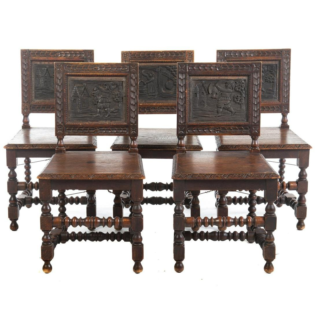 Set Of Five German Carved Oak Chairs