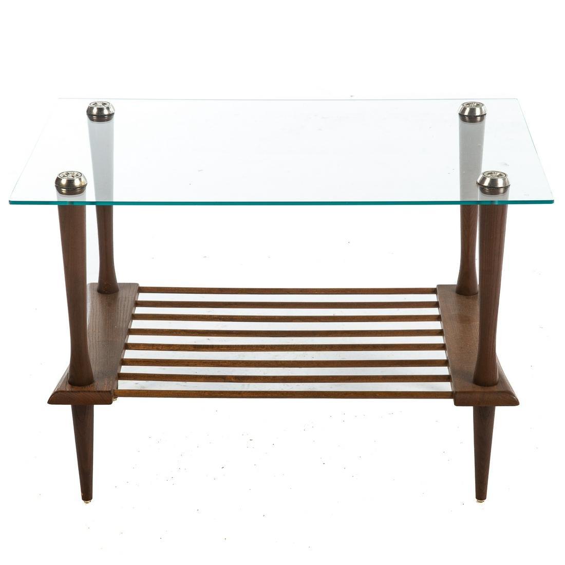 Mid-Century Modern Glass & Teak Side Table