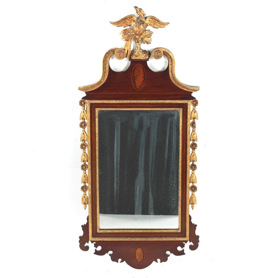 Chippendale Style Mahogany Giltwood Mirror