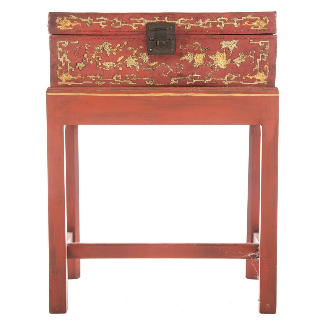 Chinese Red Leather Box on Stand