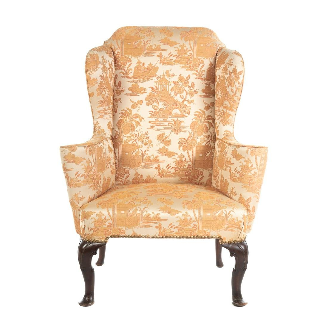 George II Mahogany Upholstered Wing Chair