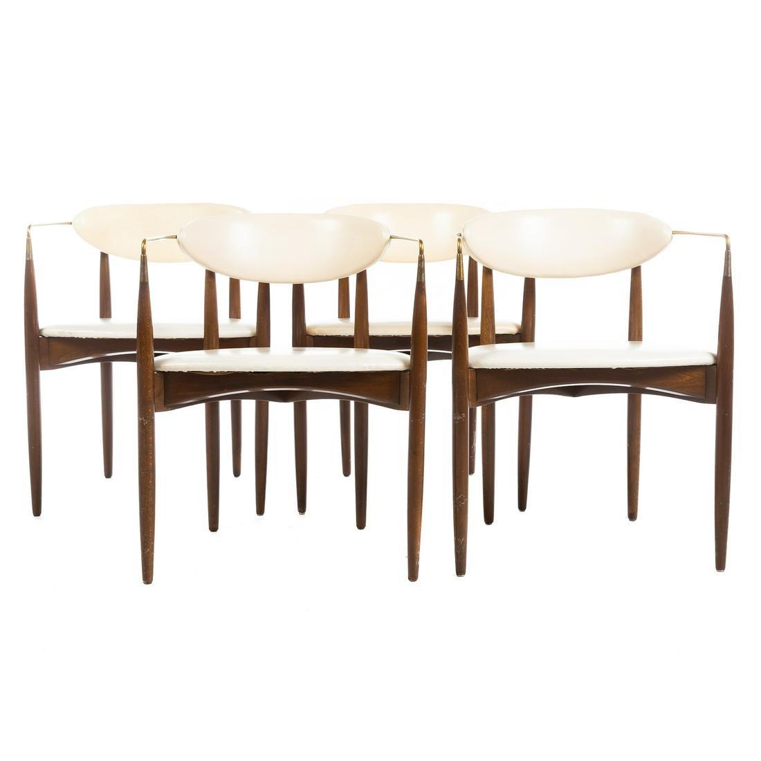 Four Mid-century Modern White Naugahyde Chairs