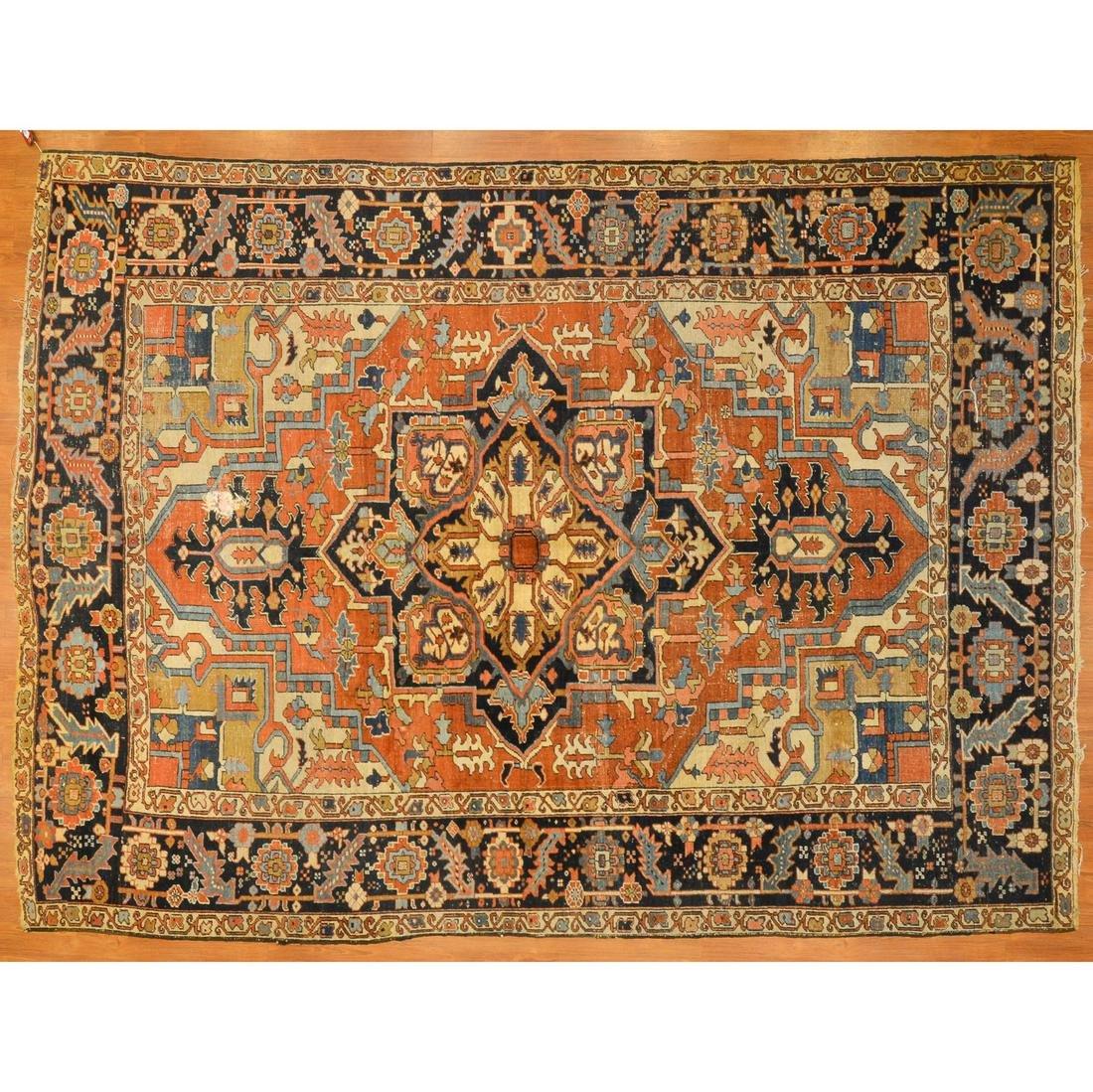 Antique Heriz Rug, Persia, 7.10 x 10.9