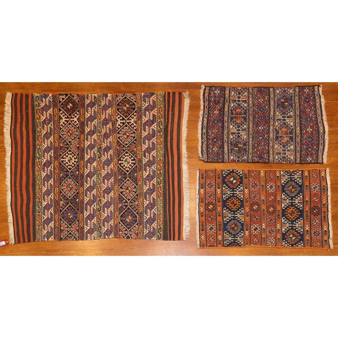 Group of 3 Turkeman Soumac Rugs, Turkestan