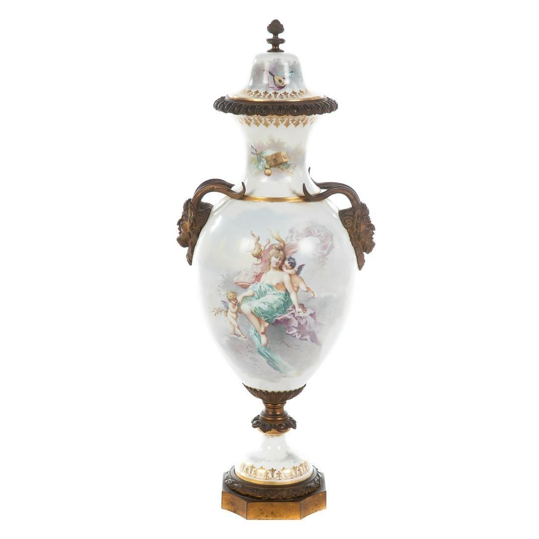Large Sevres Manner Porcelain Urn