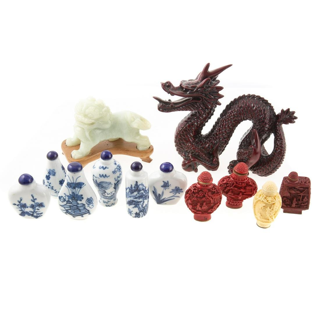 10 Chinese Snuff Bottles And Jade Foo Lion