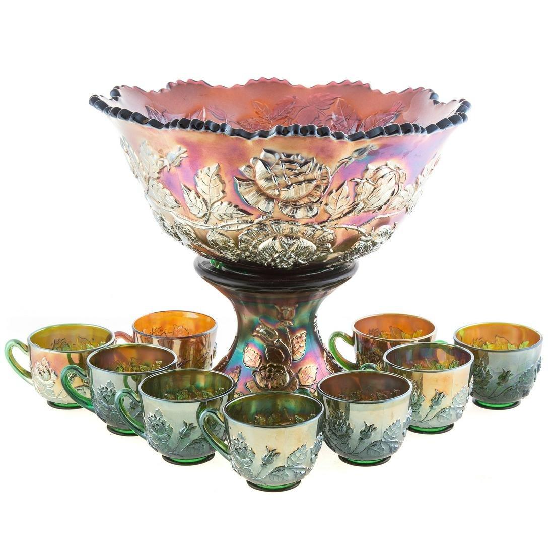 American Amethyst Carnival Glass Punch Bowl Set