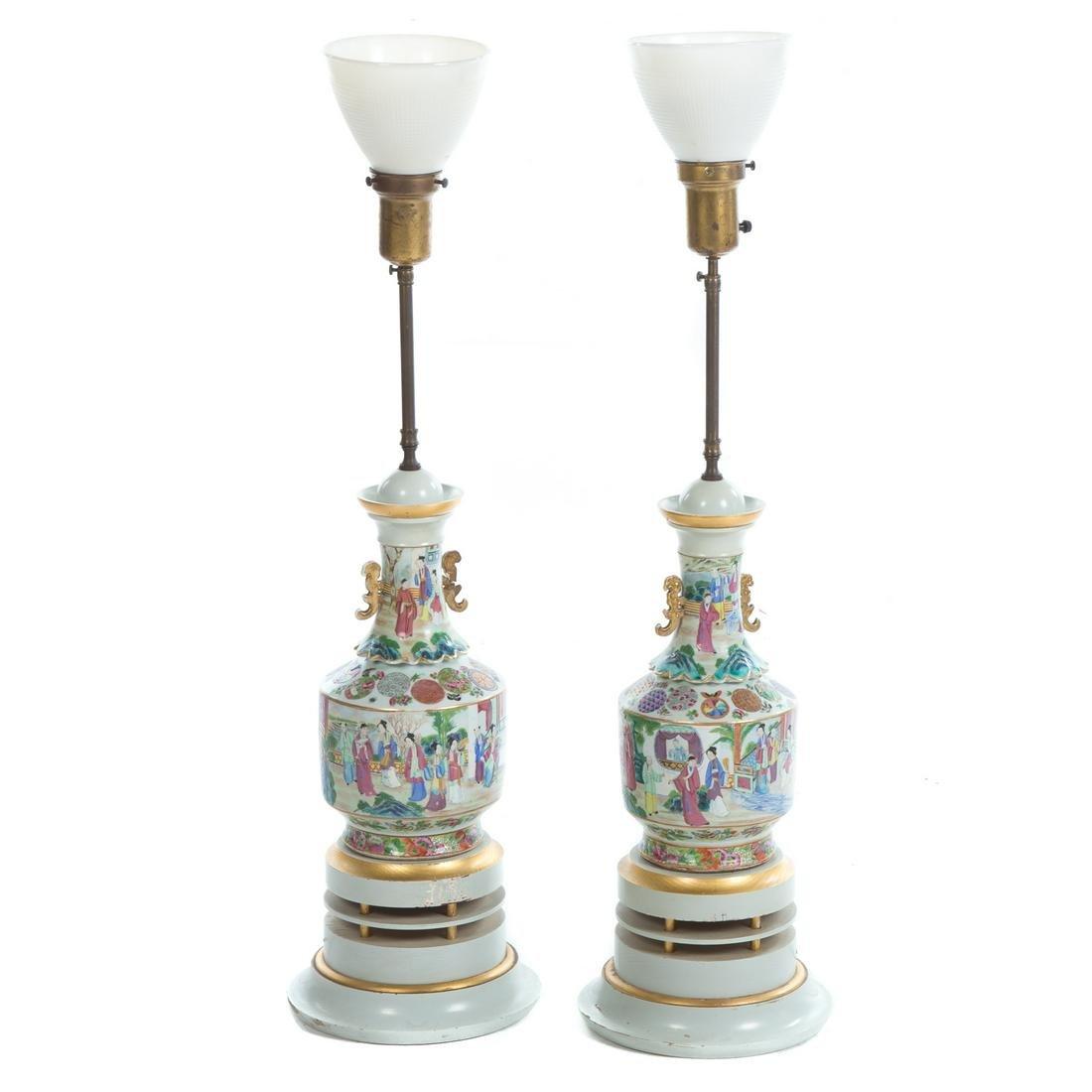 Pair of Chinese Export Rose Mandarin Vase Lamps