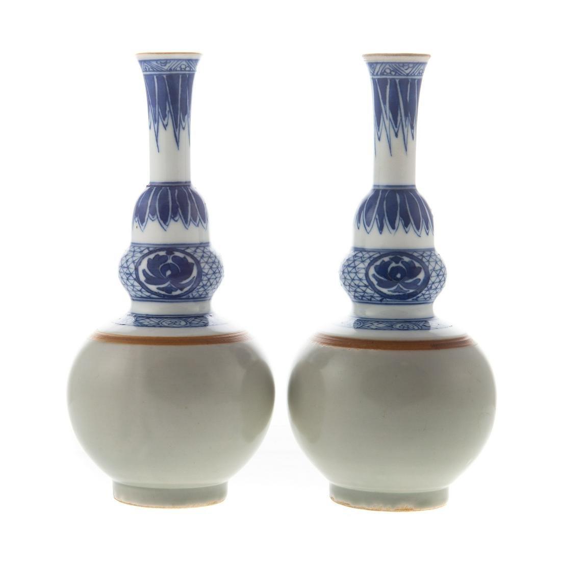 Pair Chinese Celadon/Blue & White Vases