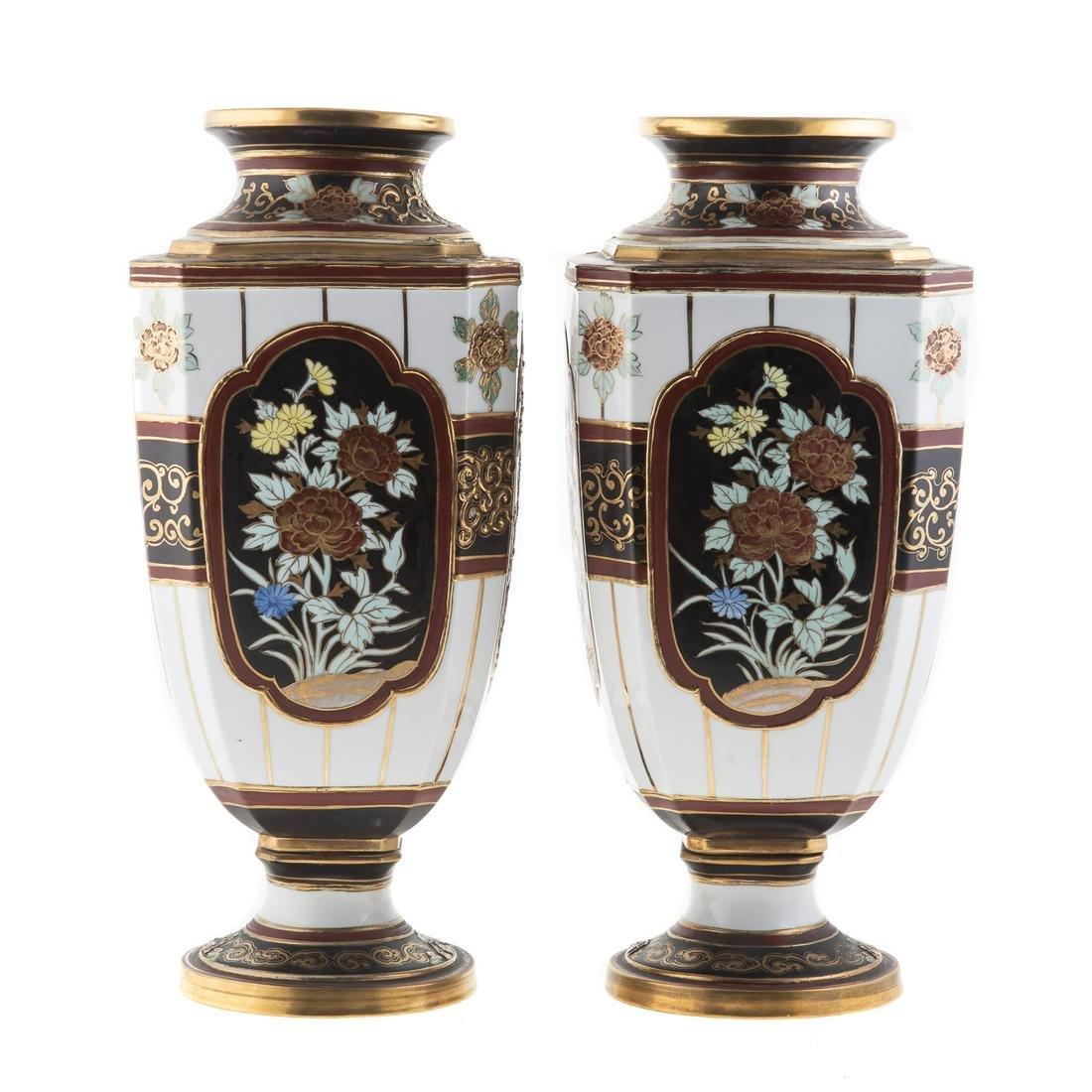 Pair Large Nippon Porcelain Panel Vases
