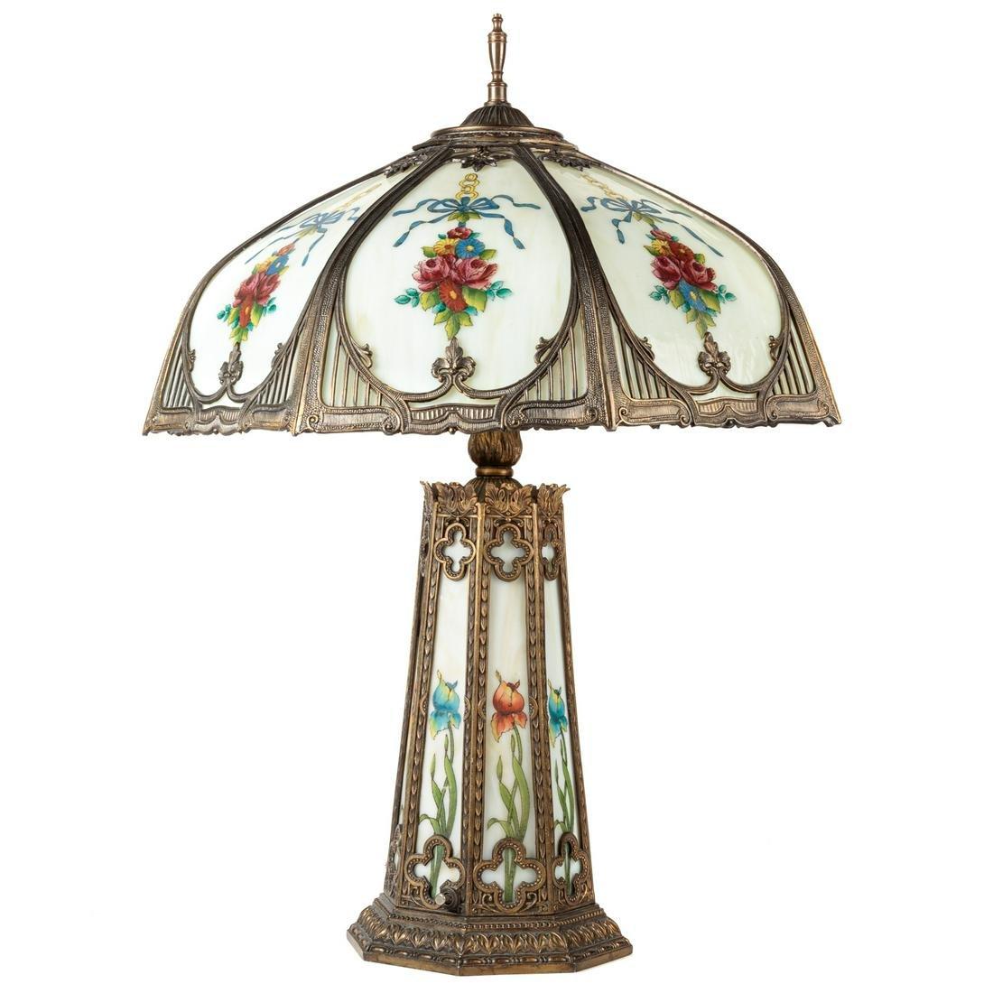 Art Nouveau Gilt Metal/Slag Glass Table Lamp