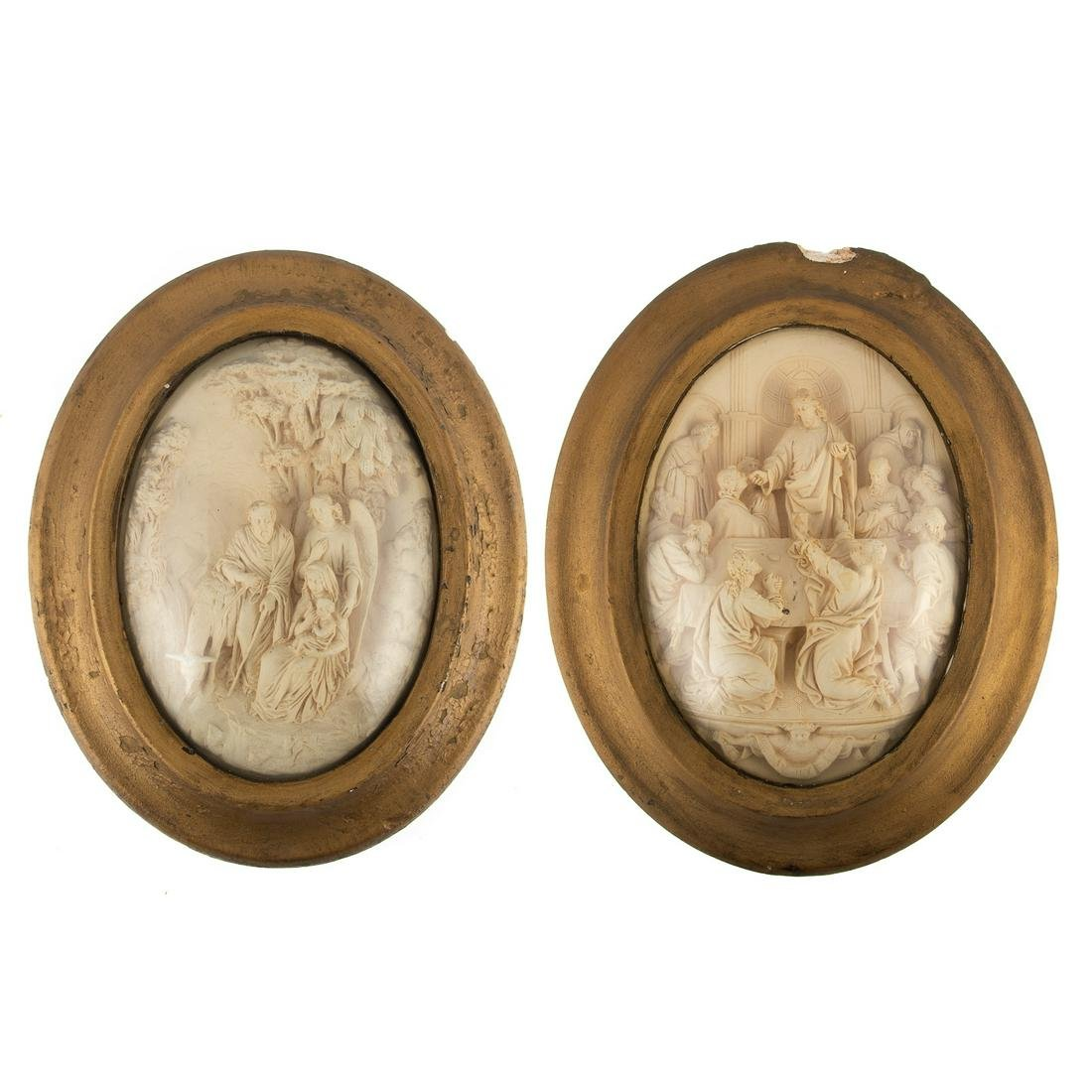 Pair Continental Carved Religious Scene Plaques