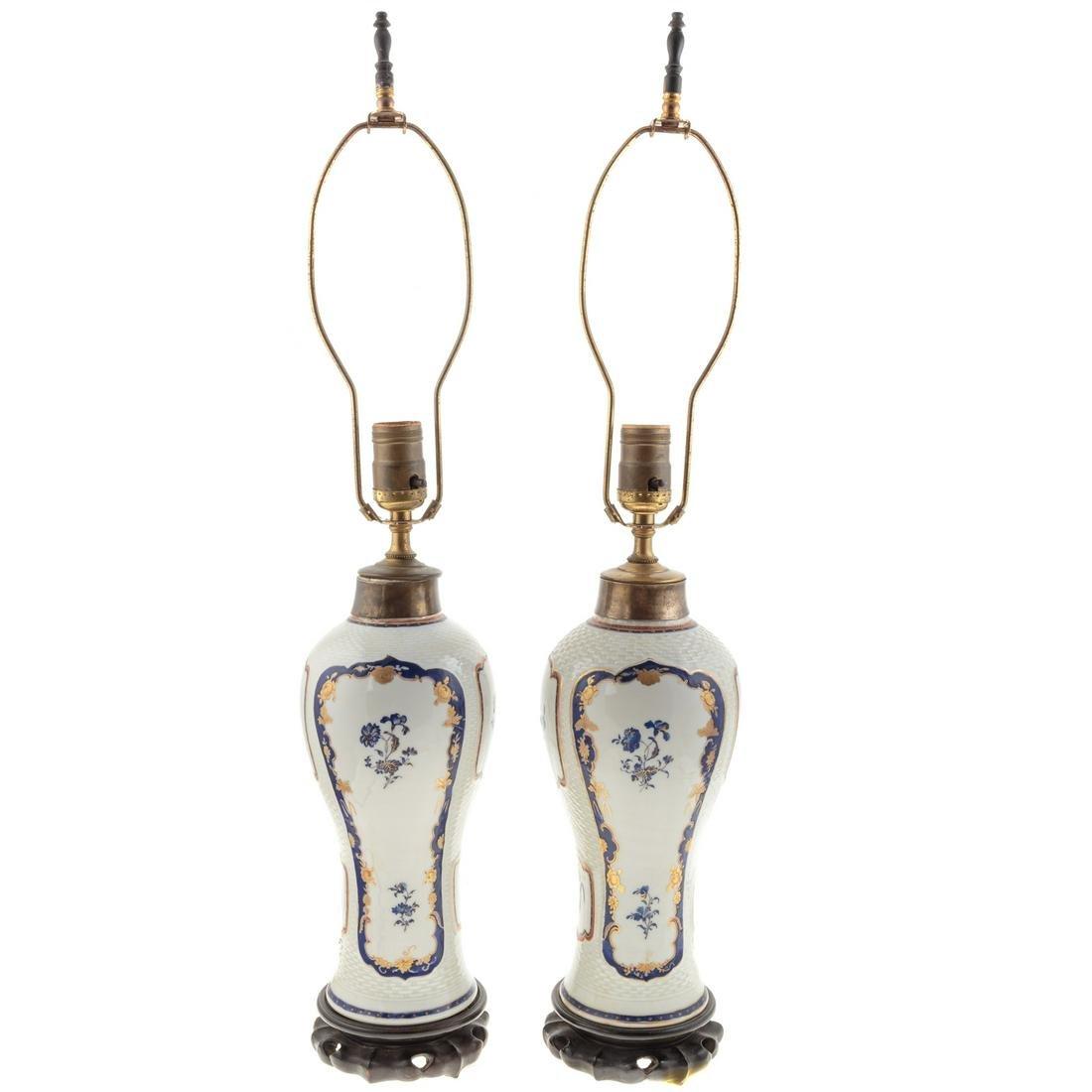 Pair Chinese Export Garniture Lamps