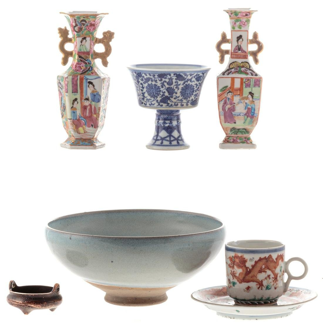 Seven Chinese Porcelain & Bronze Articles