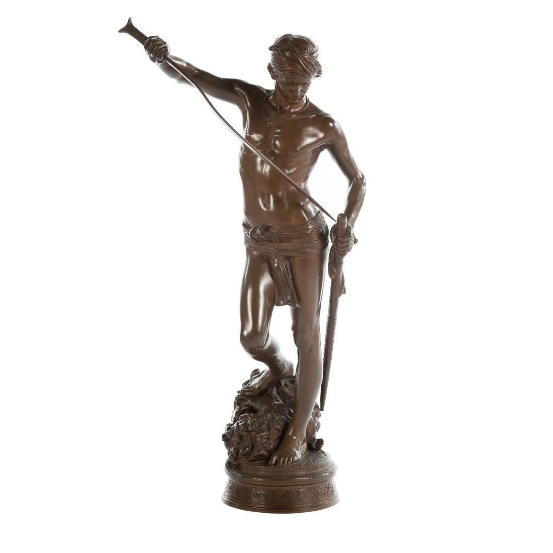 Antonin Mercie, David With Head Of Goliath Bronze