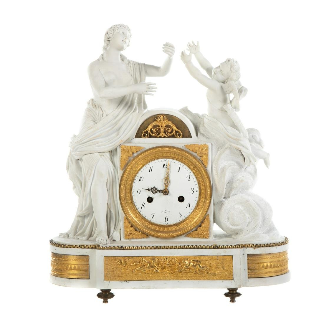 French Gilt Metal Mounted Bisque Mantel Clock