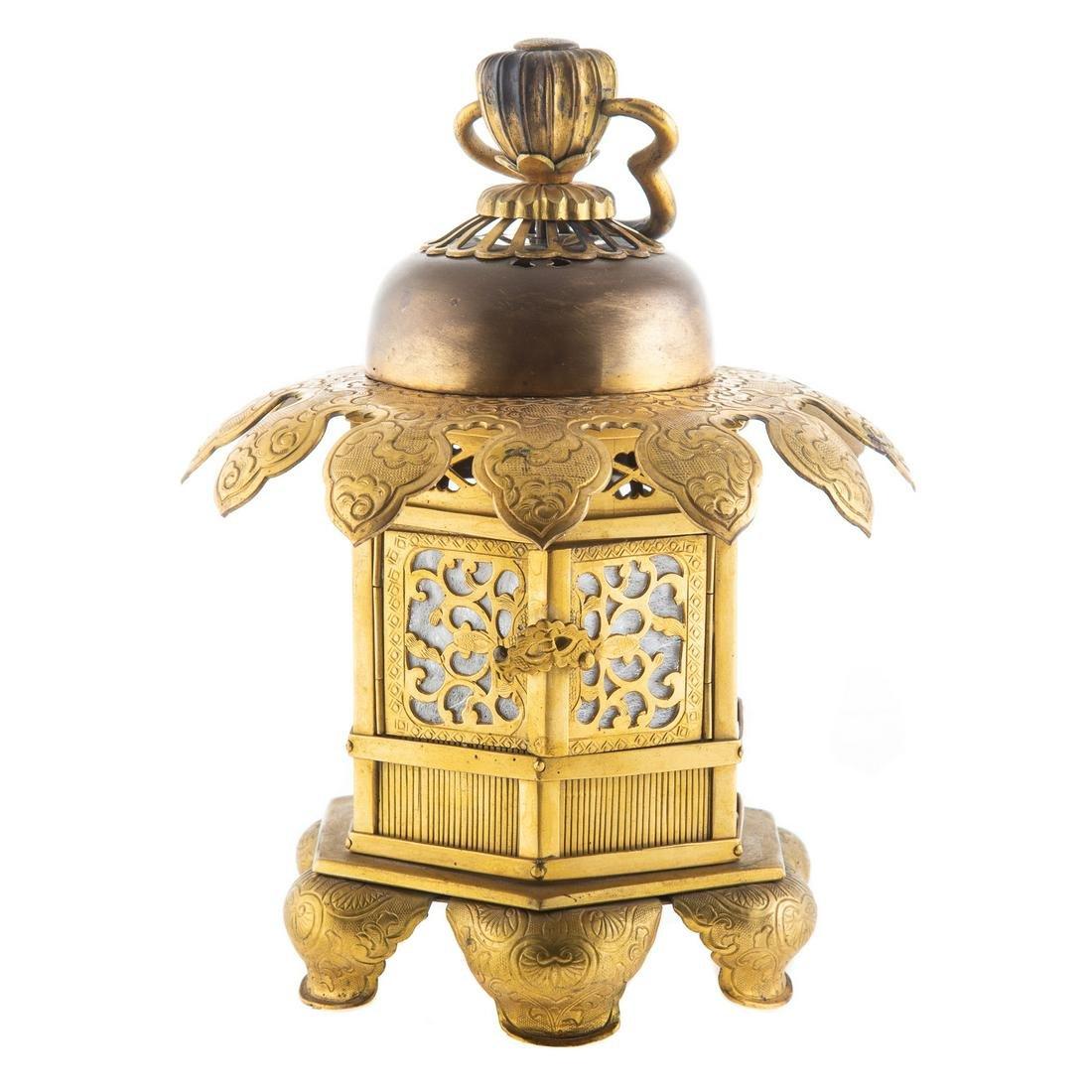 Japanese Etched Gilt Metal Lantern