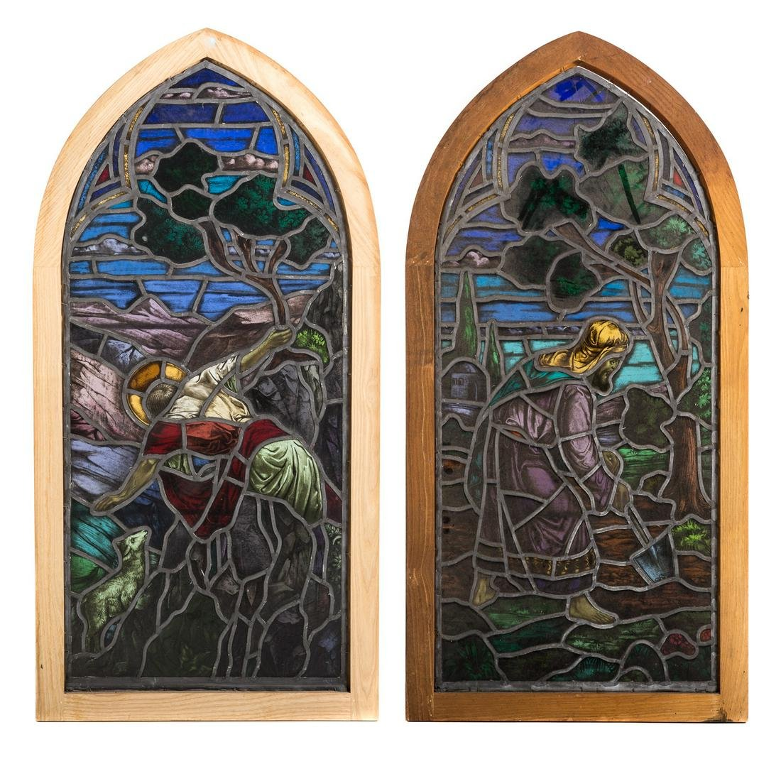 Two Continental Religious Stained Glass Windows