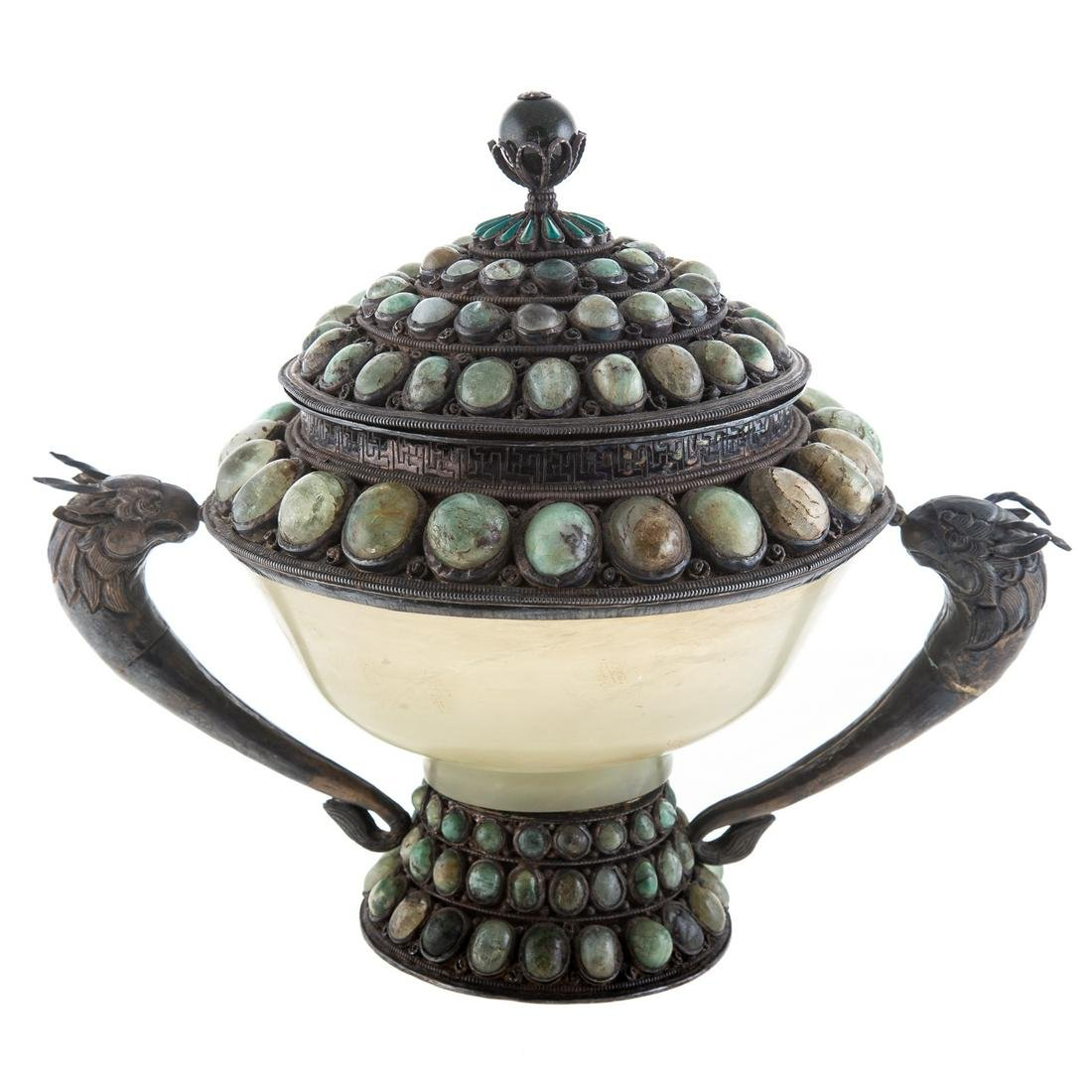 Oriental Silver & Jade Covered Cup