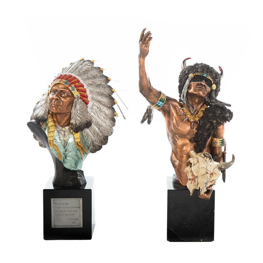 Two Chilmark Pewter Native American Busts