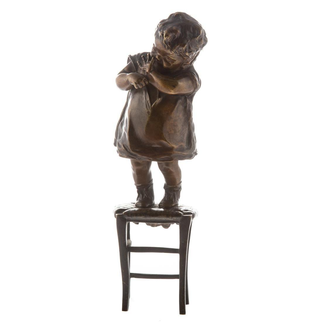 Juan Clara Ayats, Child On Stool Bronze