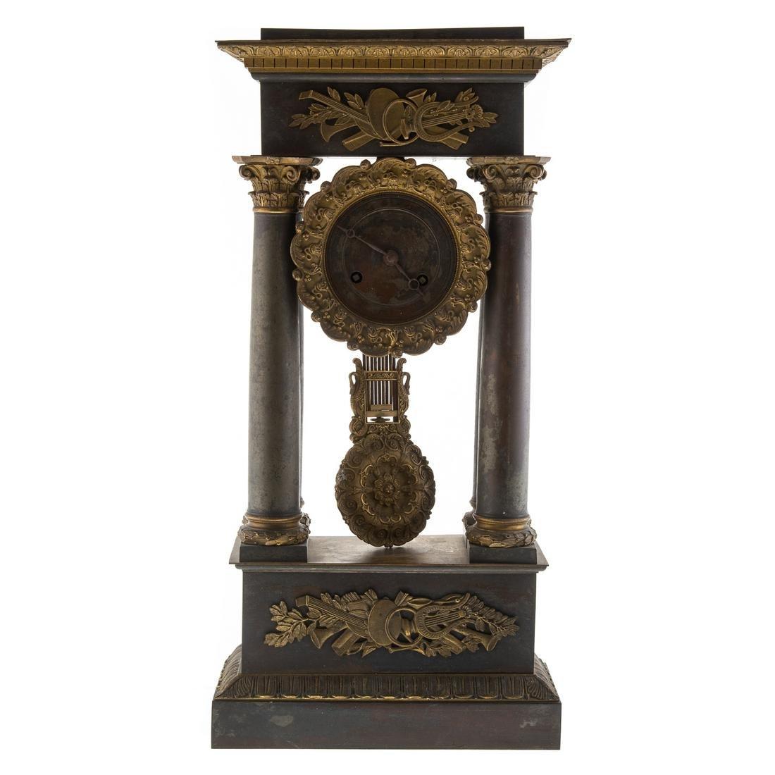 French Empire Bronze/Brass Portico Clock