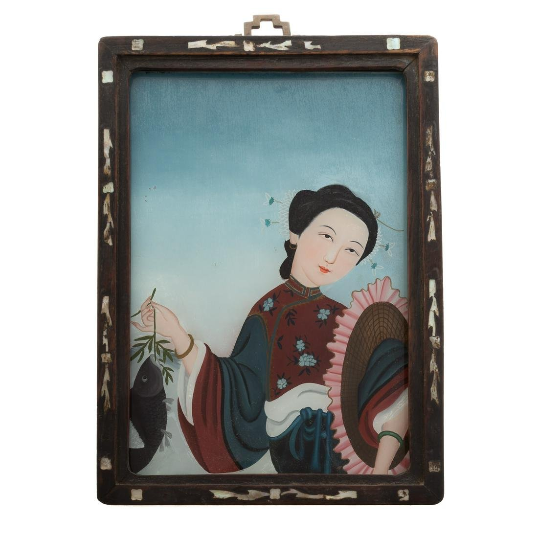 Chinese Reverse Painted Glass Picture Of Maiden